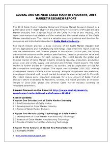 Cable Marker Market Development Trends and Industry Forecasts to 2016