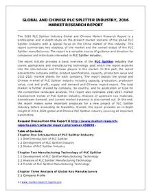 PLC Splitter Market Trends and Industry Development Forecast to 2020