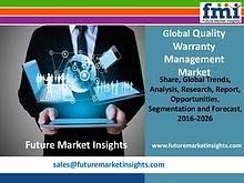 Quality Warranty Management Market Segments and Key Trends 2016-2026