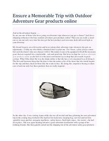 Ensure a Memorable Trip with Outdoor Adventure Gear products online