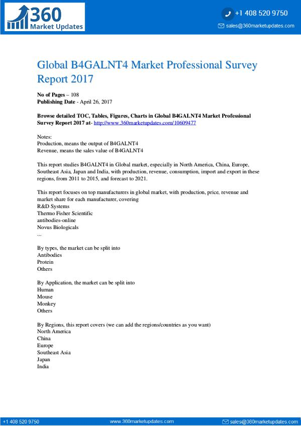 market research global b4galnt4 market professional survey report