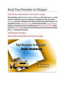 Book Taxi Provider in Udaipur