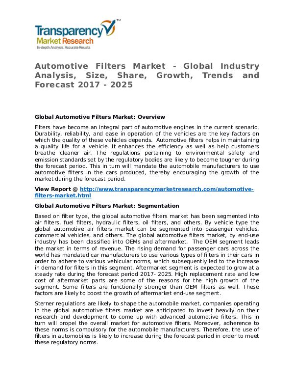 automotive air filters market research report Summary icrworld's automotive air filters market research report provides the newest industry data and industry future trends, allowing you to identify the products and end users driving revenue growth and profitability.