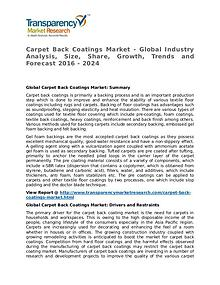 Carpet Back Coatings Market 2016 Share,Trend and Forecast
