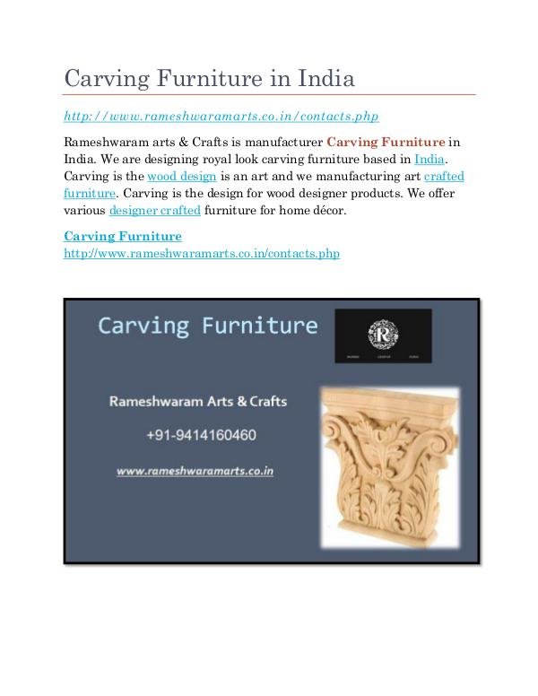 Carving Furniture Supplier Carving Furniture in India