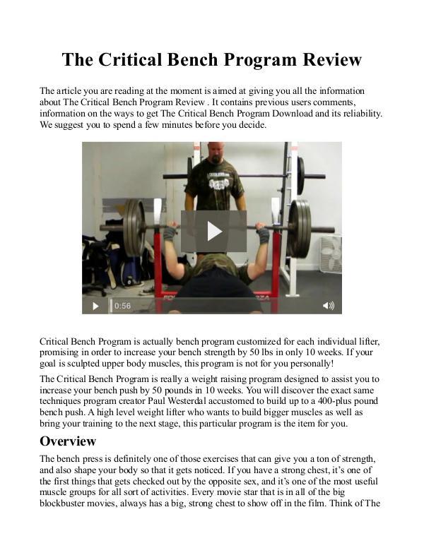 critical bench program free