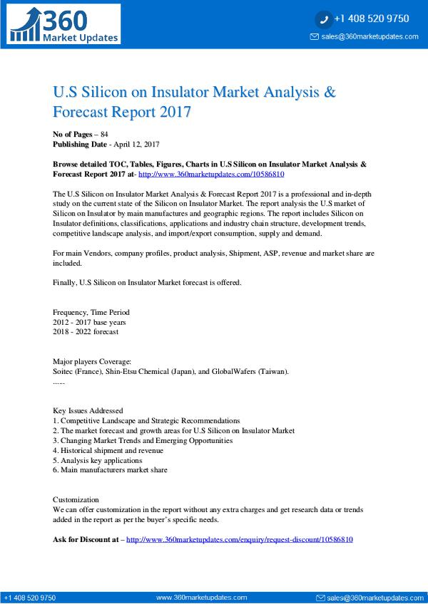 Market Updates SiliconOnInsulatorMarketAnalysisForecast