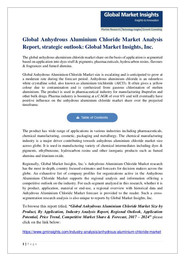 Global Anhydrous Aluminium Chloride Market Analysis Report