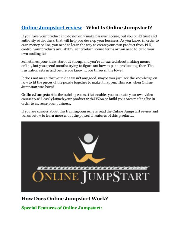 Marketing Online Jumpstart review & SECRETS bonus of Online