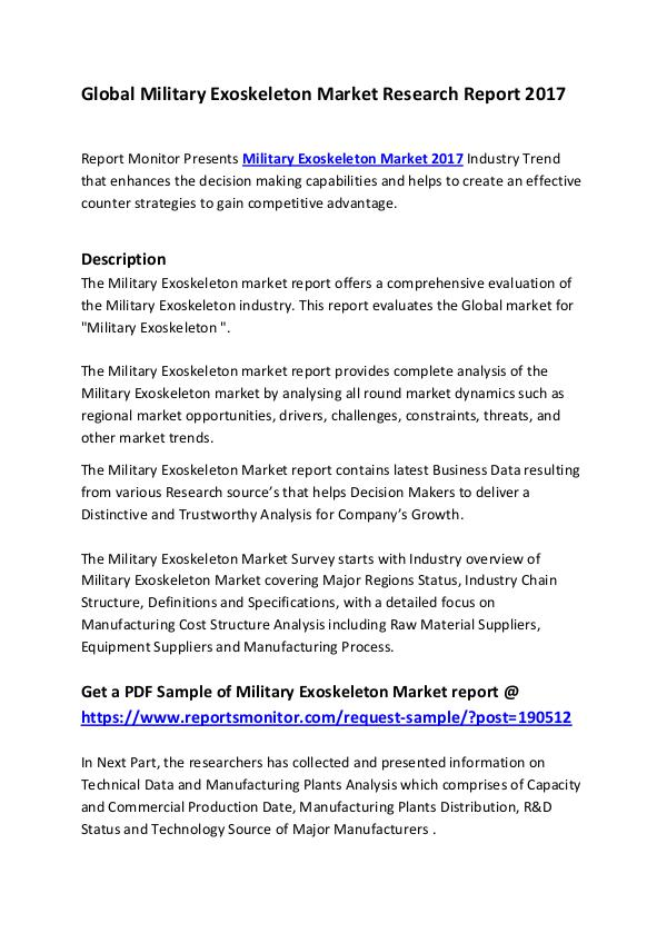 Market Research Reports Global Military Exoskeleton Market