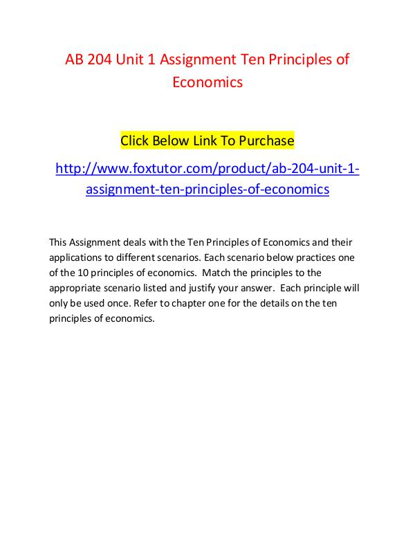 principle of econ assignment