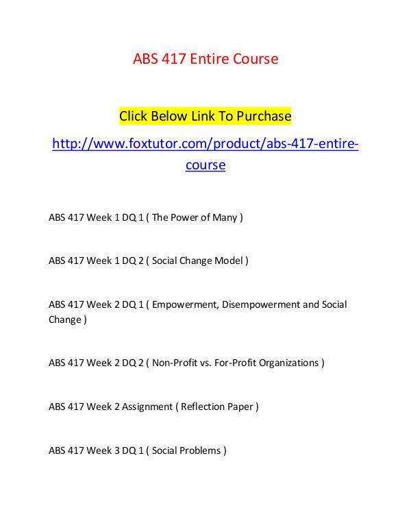 abs 417 week 2 assignment