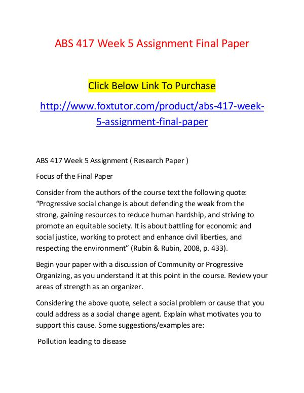 week 5 final assignment Exp 105 – week 5 final assignment subject: general questions / general general questions question week 5 – final assignment discussion title [.