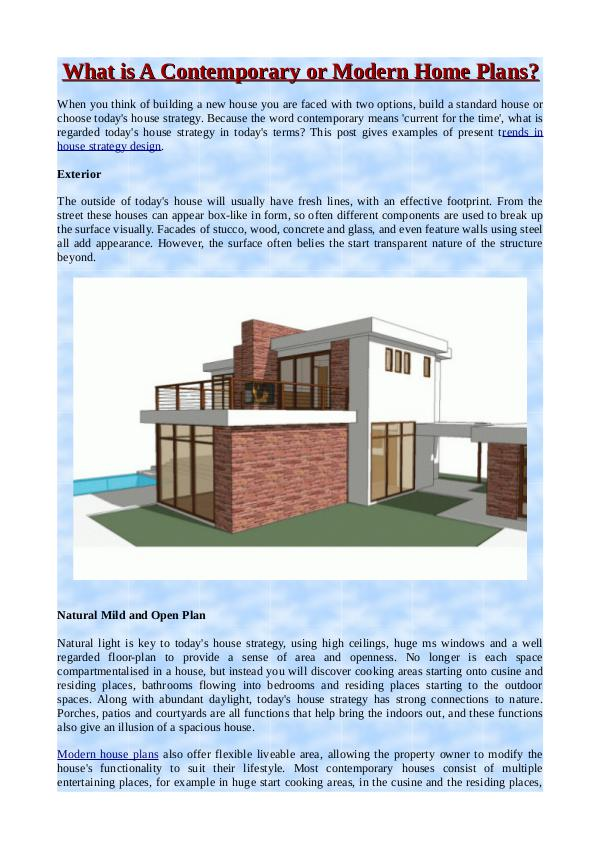 What Is A Contemporary Or Modern Home Plans? What Is A Contemporary Or  Modern Home Plans?
