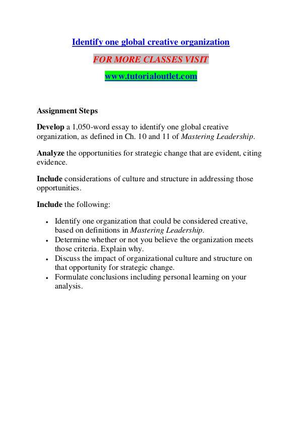 IDENTIFY ONE GLOBAL CREATIVE ORGANIZATION / TUTORIALOUTLET DOT COM ...