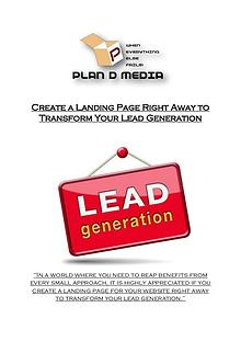 Create a Landing Page Right Away to Transform Your Lead Generation