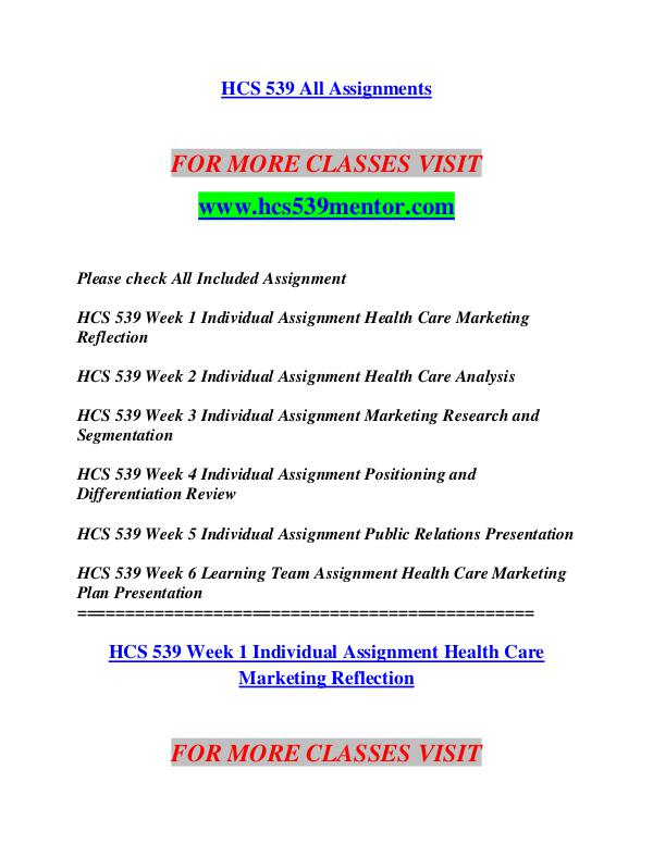 health care marketing hcs 539 week 1 Easily share your publications and get them in front of issuu's millions of hcs 539 week 6 learning team assignment health care marketing plan.