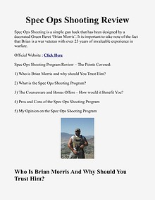 Spec Ops Shooting System / Book PDF Brian Morris Free Download