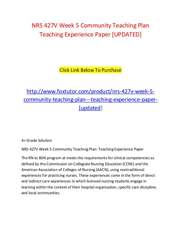 community teaching plan teaching experience paper essay