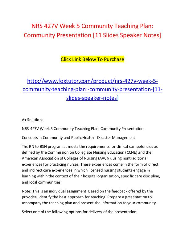 Nrs 427V Week 5 Community Teaching Plan Community Presentation [11