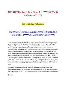 NRS 410V Module 3 Case Study 1 (761 Words References)