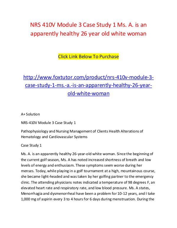 ms a is an apparently healthy 26 year old white woman A 52 year old woman has been experiencing fatigue and difficulty concentrating for the past three ann is a healthy 26-year-old white female multiple sclerosis.