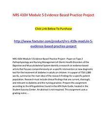 NRS 410V Module 5 Evidence Based Practice Project
