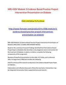 NRS 410V Module 5 Evidence Based Practice Project Intervention Presen