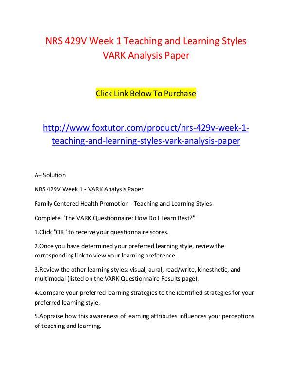 vark analysis paper