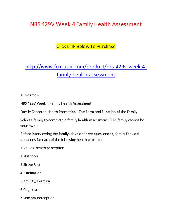 family focused health assessment questions