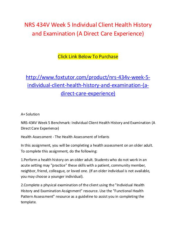 Nrs V Week  Individual Client Health History And Examination