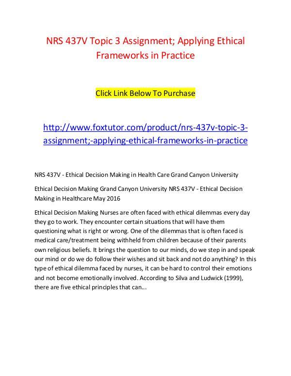 applying ethical frameworks in practice essay