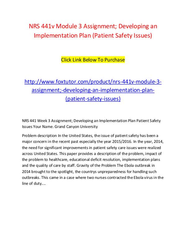 develop an implementation plan 1 500 2 000 words nrs 441v