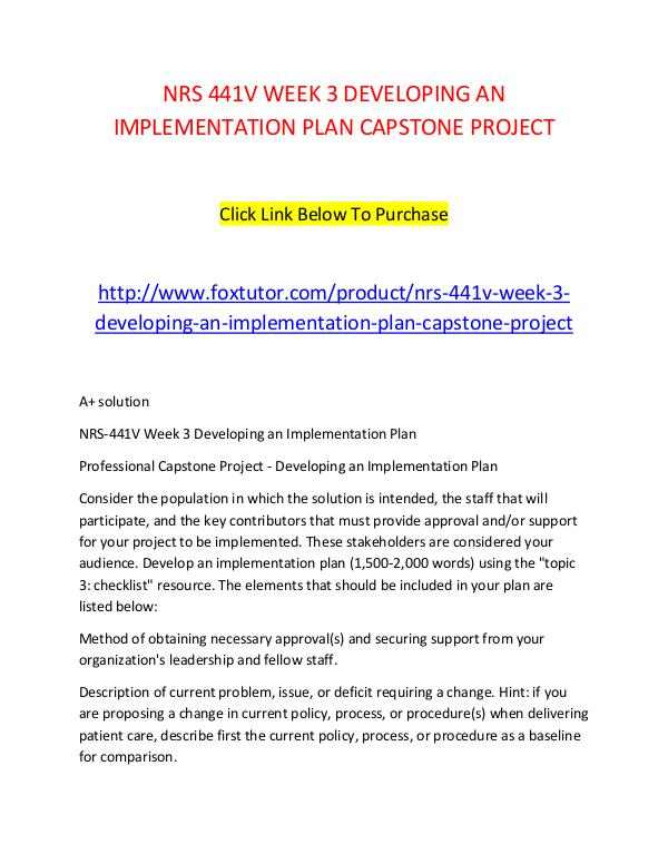 Nrs V Week  Developing An Implementation Plan Capstone Project