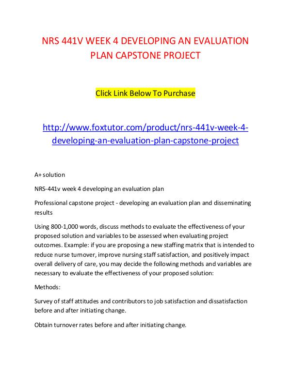 Nrs V Week  Developing An Evaluation Plan Capstone Project Nrs