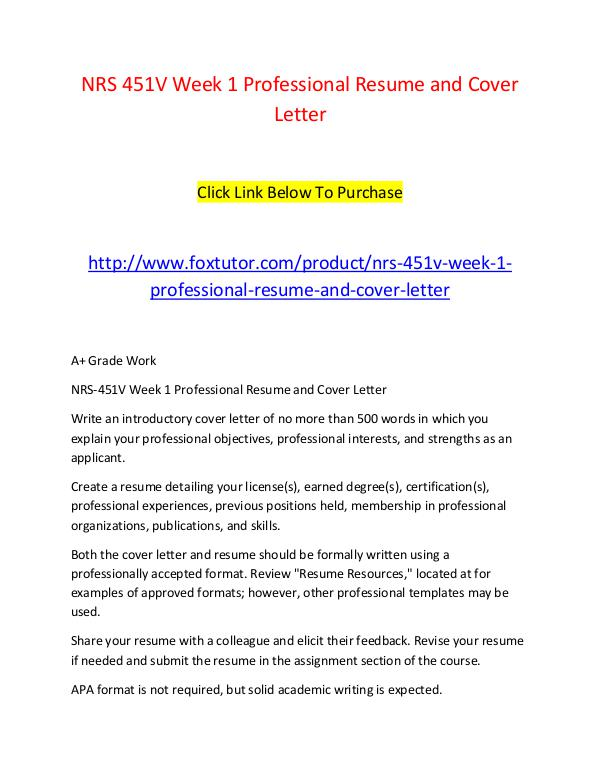 professional resume and cover letters