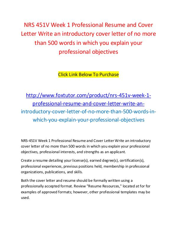 Nrs 451v Week 1 Professional Resume And Cover Letter Write An