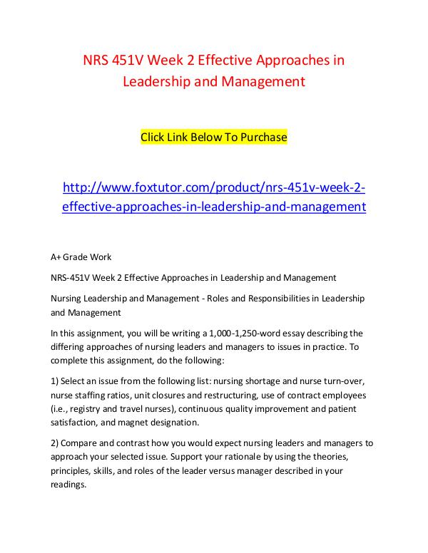 nrs v week effective approaches in leadership and management  nrs 451v week 2 effective approaches in leadership and management nrs 451v week 2 effective approaches in leadership