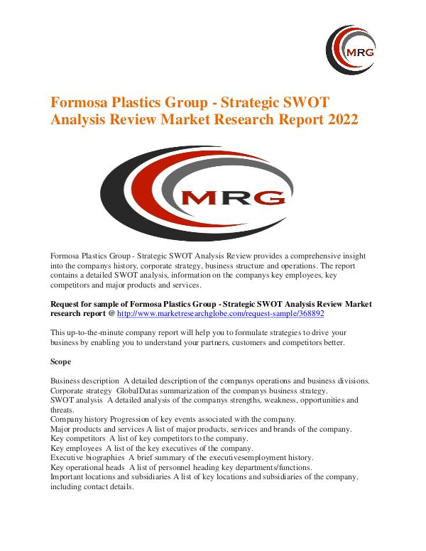 Formosa Plastics Group - Strategic Swot Analysis Review Market