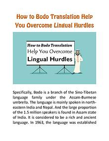 How to Bodo Translation Help You Overcome Lingual Hurdles