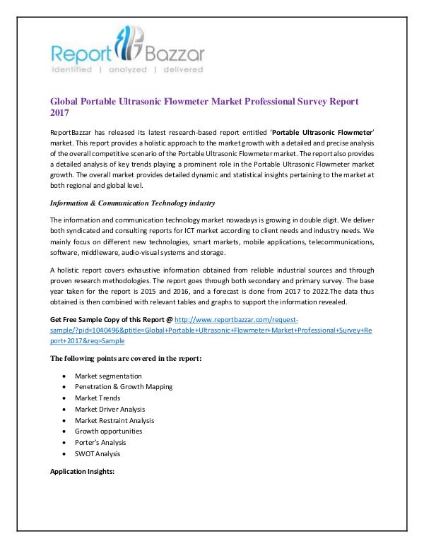global portable ultrasonic flowmeter market professional report
