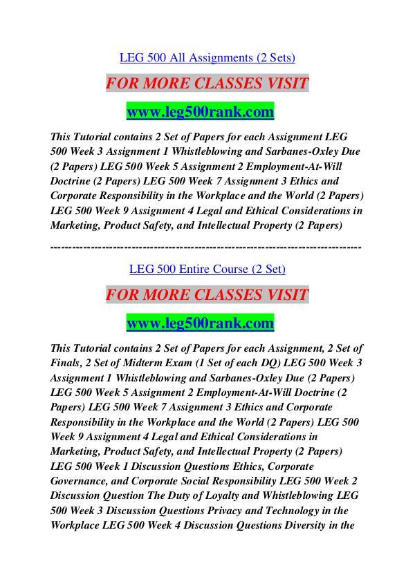 leg 500 assignment 3