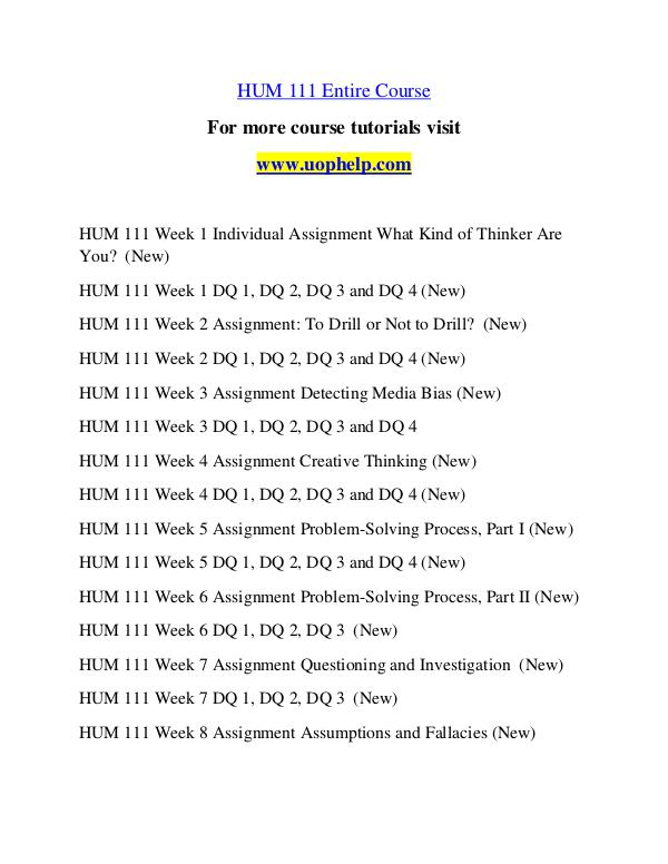 problem solving process part 1 hum 111 week 5 Uoptutorial provides hum 111 final exam guides we offer hum 111 final exam answers, hum 111 week 1,2,3,4,5,individual and team assignments.