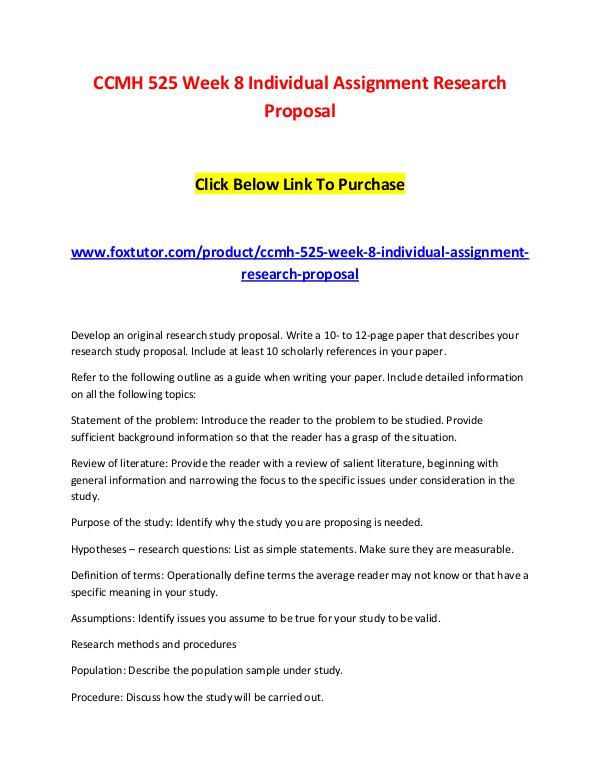 Ccmh  Week  Individual Assignment Research Proposal Ccmh