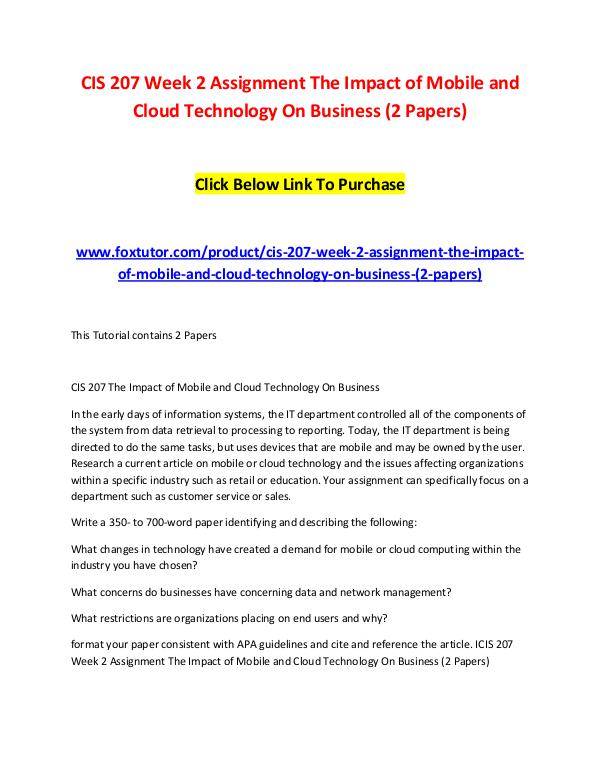 cis 207 mobile systems paper Study cis207 information systems fundamentals from university of phoenix view cis207 course topics and additional information web and mobile computing.