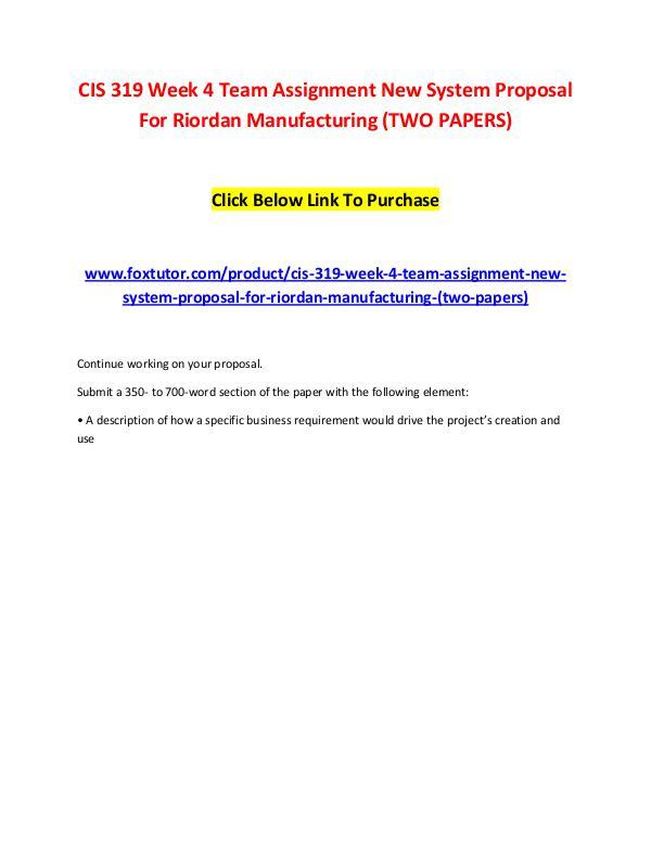 riordan manufacturing new system proposal