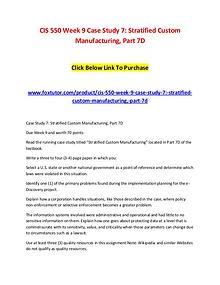 case study 7 stratified custom manufacturing part 7d Case study- stratified custom manufacturingwrite a three to four 3-4 page paper in which you hire case study expert case study- stratified custom manufacturing.