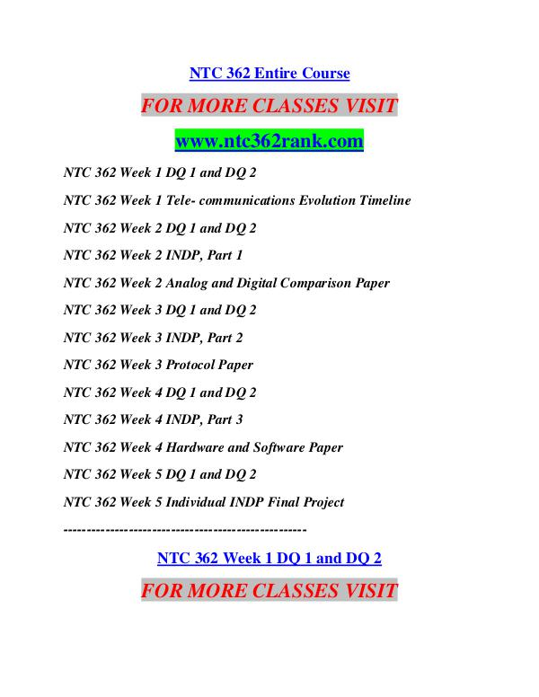 ntc362 week 2 indp part 1 Ntc 362 week 3 indp part 2 click here to purchase the tutorial .