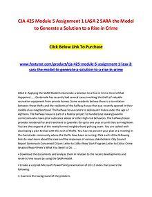 CJA 425 Module 5 Assignment 1 LASA 2 SARA the Model to Generate a Sol