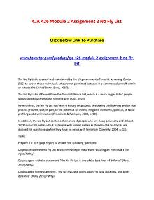 CJA 426 Module 2 Assignment 2 No Fly List